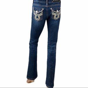 L.A. Idol USA Boot Cut Dark Wash Bling Jeans Sz 3